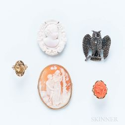 Group of Brooches and Rings