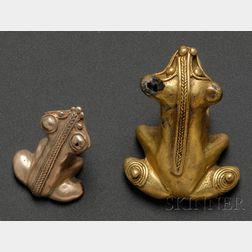 Two Pre-Columbian Frog Pendants