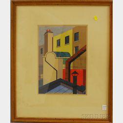 American School, 20th Century      Cubist City Buildings View.