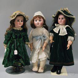 Three Large Bisque Head Dolls