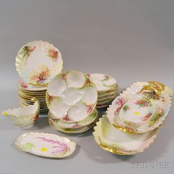 Twenty-five Pieces of French Limoges Hand-painted Porcelain