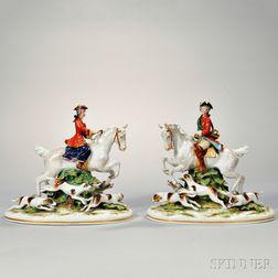 Pair of Dresden Porcelain Fox Hunt Figural Groups