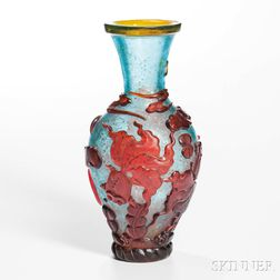 Overlaid Peking Glass Vase