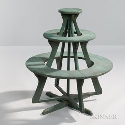 Circular, Green-painted, Revolving Three-tier Plant Stand