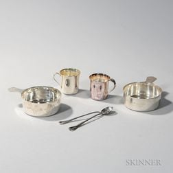 Six Pieces of Tiffany & Co. Sterling Silver Child's Tableware
