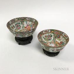 Two Rose Medallion Porcelain Bowl on Stands