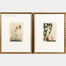 American/European School, 20th Century      Two Framed Art Deco Works: Woman with Fan