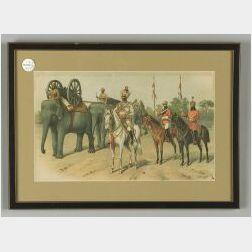 Four Richard Simkin Chromolithographs of Soldiers
