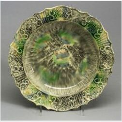 Staffordshire Lead Glazed Creamware Soup Plate