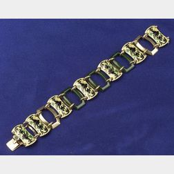 Art Deco 14kt Gold, Enamel and Hardstone Bracelet