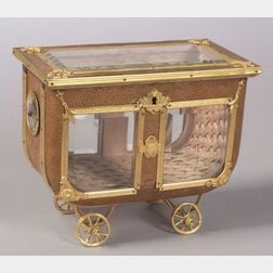Whimsical French Gilt Metal, Glass and Faux Shagreen Carriage-form Jewelry Box