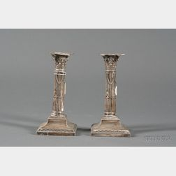 Pair of Edward VII Silver Candlesticks