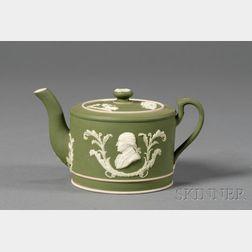 Wedgwood Dark Green Jasper Dip Commemorative Teapot and Cover