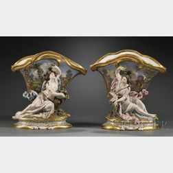 Pair of Paris Porcelain Figural Vases