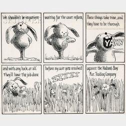 David Omar White (American, 1927-2009)      Lot of 102 The White Rabbit   Political Cartoon Strips