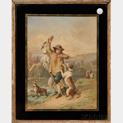 Adolphe (Emmanuel) Midy (French, 1797-1874), After Alfred de Dreux (French, 1810-186      Boy with Leaping Hounds