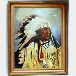 Framed Folk Portrait of Sioux Chief Little Wound
