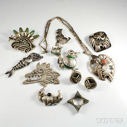 Group of Mexican Sterling Silver and Hardstone Figural Jewelry