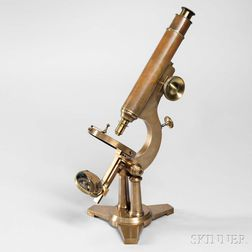 Ernest C. Fasoldt Lacquered Brass Monocular Microscope