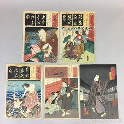 Five Utagawa Kunisada (1786-1865) Woodblock Prints