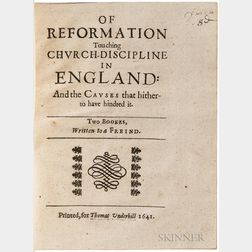 Milton, John (1608-1674) Of Reformation Touching Church-Discipline in England: and the Causes that hitherto have hindred it.