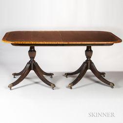 Georgian-style Mahogany and Mahogany-veneered Dining Table