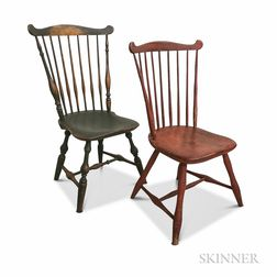 Two Painted Fan-back Windsor Side Chairs