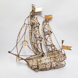 Crystal and Gilt-metal Ship-form Chandelier