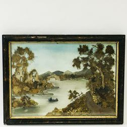 Framed Mixed Media Sandpaper Landscape