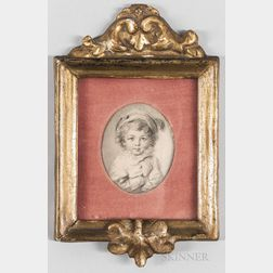 French School, 18th Century Style      Miniature Portrait of a Child with Crossed Arms