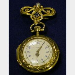Antique Lady's 18kt Gold, Diamond and Enamel Pair Case Watch