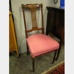 Louis XVI Style Git-metal Mounted Satinwood Side Chair.