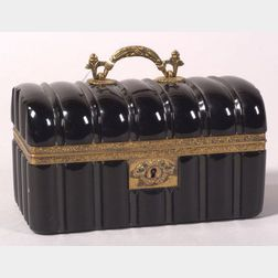 Neoclassical-style French Black Glass and Gilt Metal Mounted Trinket Box