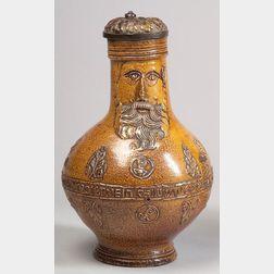 Glazed Frechen-type Stoneware Bartmann Krug