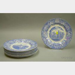 Set of Eight Wedgwood Light Blue and White Transfer Mt. Holyoke College Dinner   Plates