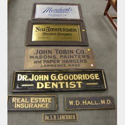 Seven Assorted Trade Signs and Physician's Trade Signs