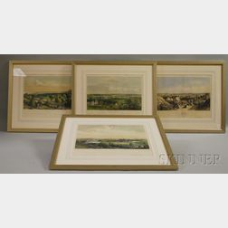 Set of Four Framed Endicott & Co. Hand-colored Lithograph New England Scenery