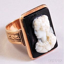 Antique 14kt Rose Gold and Hardstone Cameo Ring