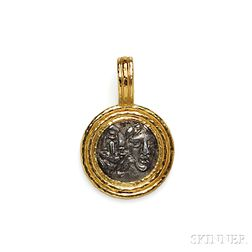 19kt Gold and Ancient Silver Coin-mounted Pendant, Elizabeth Locke