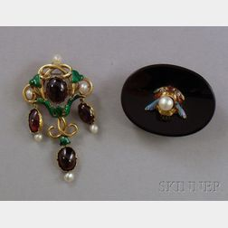 Two 14kt Gold, Pearl, and Enamel Brooches
