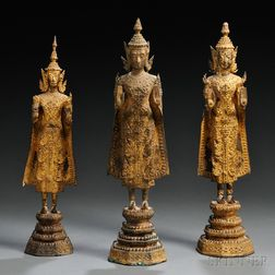 Three Gilt-bronze Rattanakosin-style Figures of Shakyamuni