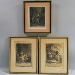 Continental School, 18th/19th Century Three Framed Prints on Genre Themes: After Ludwig Knaus (German, 1829-1910), A Shrewd Bargain, ph
