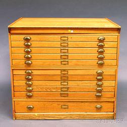 Oak Eleven-drawer File Cabinet
