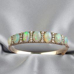Gold, Opal, and Diamond Bracelet