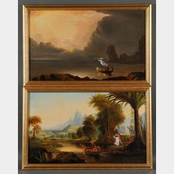 After Thomas Cole (American, 1801-1848)      Two Allegories.
