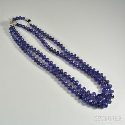 Double-strand Tanzanite Bead Necklace
