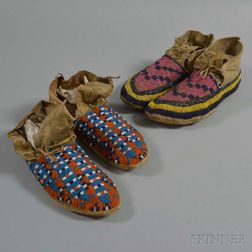 Two Pairs of Lakota Beaded Hide Moccasins