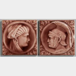 Two American Encaustic Tiling Co. Art Pottery Tiles