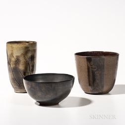 Three Edwin and Mary Scheier Pottery Vessels