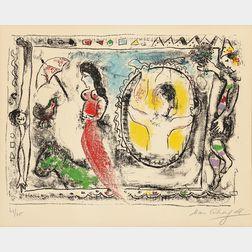 Marc Chagall (Russian/French, 1887-1985)      Femme avec parapluie